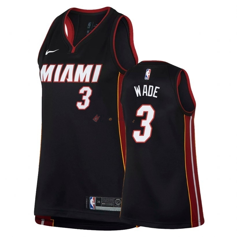 Hot- Maglia NBA Donna Miami Heat NO.3 Dwyane Wade Nero Icon 2018