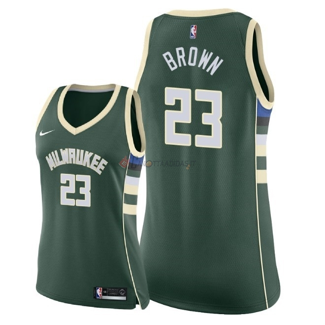 Hot- Maglia NBA Donna Milwaukee Bucks NO.23 Sterling Brown Verde Icon 2018