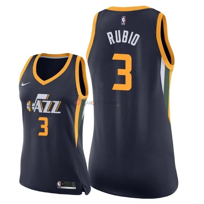 Hot- Maglia NBA Donna Utah Jazz NO.3 Ricky Rubio Marino Icon 2018