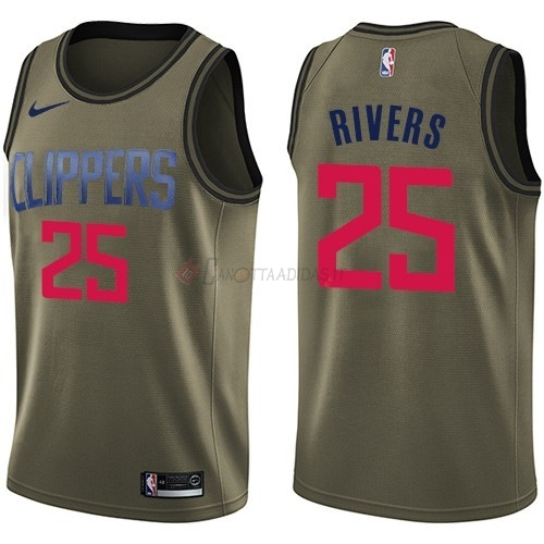 Hot- Maglia NBA Los Angeles Clippers Servizio Di Saluto NO.25 Austin Rivers Nike Army Green 2018