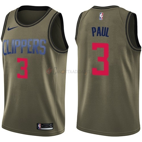Hot- Maglia NBA Los Angeles Clippers Servizio Di Saluto NO.3 Chris Paul Nike Army Green 2018
