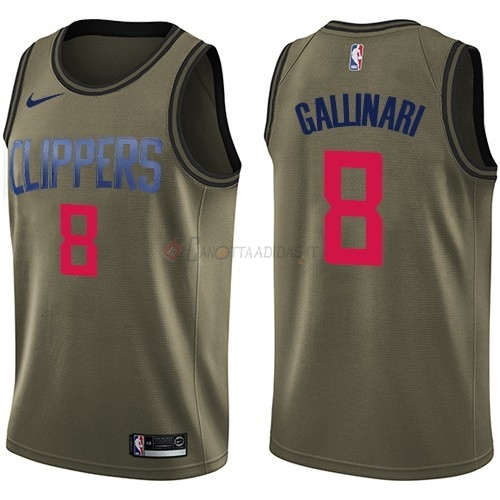 Hot- Maglia NBA Los Angeles Clippers Servizio Di Saluto NO.8 Danilo Gallinari Nike Army Green 2018