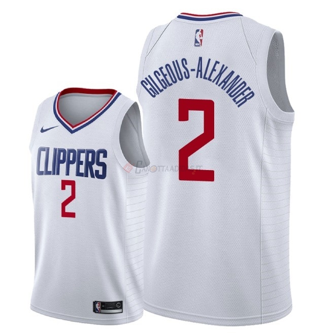 Hot- Maglia NBA Nike Los Angeles Clippers NO.2 Shai Gilgeous Alexander Bianco Association 2018