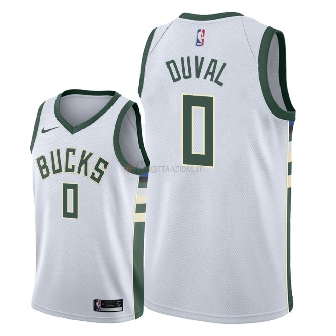 Hot- Maglia NBA Nike Milwaukee Bucks NO.0 Trevon Duval Bianco Association 2018