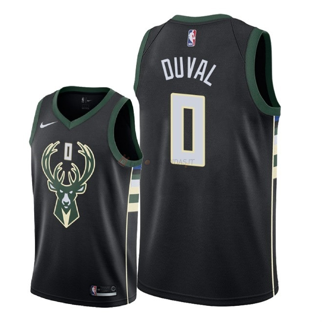 Hot- Maglia NBA Nike Milwaukee Bucks NO.0 Trevon Duval Nero Statement 2018