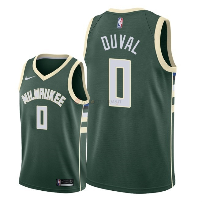 Hot- Maglia NBA Nike Milwaukee Bucks NO.0 Trevon Duval Verde Icon 2018