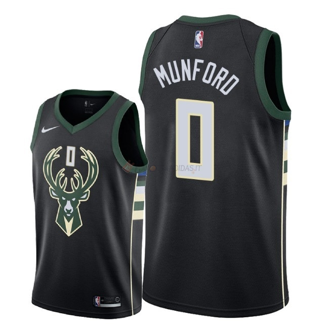 Hot- Maglia NBA Nike Milwaukee Bucks NO.0 Xavier Munford Nero Statement 2018