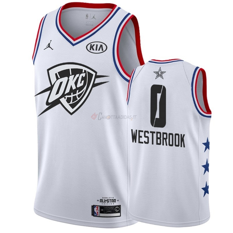 Hot- Maglia NBA 2019 All Star NO.0 Russell Westbrook Bianco