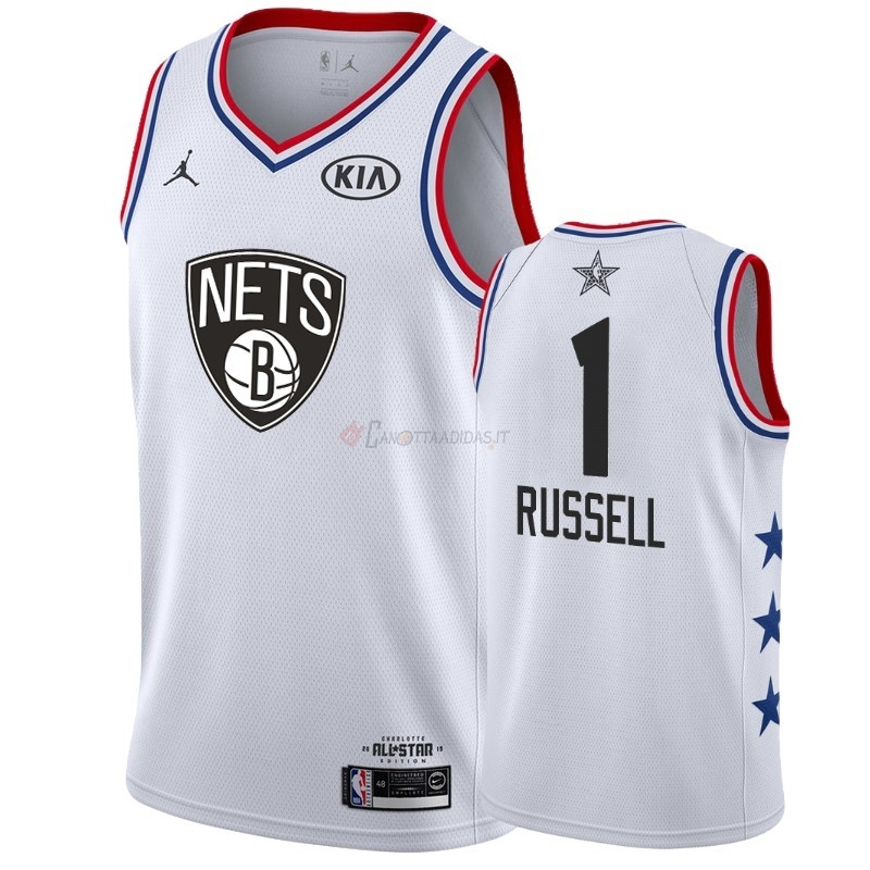 Hot- Maglia NBA 2019 All Star NO.1 DAngelo Russell Bianco