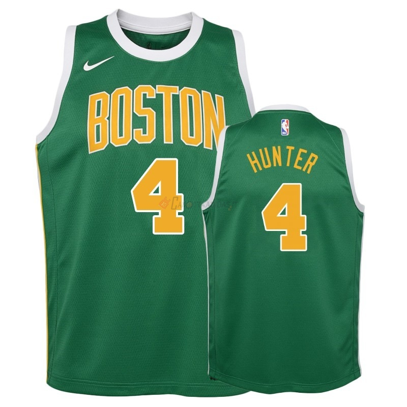 Hot- Maglia NBA Bambino Earned Edition Boston Celtics NO.4 R.J. Hunter Verde 2018-19
