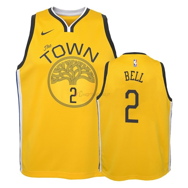 Hot- Maglia NBA Bambino Earned Edition Golden State Warriors NO.2 Jordan Bell Giallo 2018-19