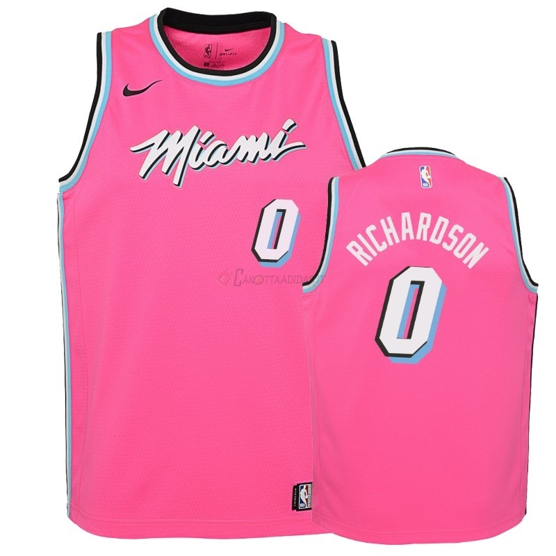 Hot- Maglia NBA Bambino Earned Edition Miami Heat NO.0 Josh Richardson Rosa 2018-19