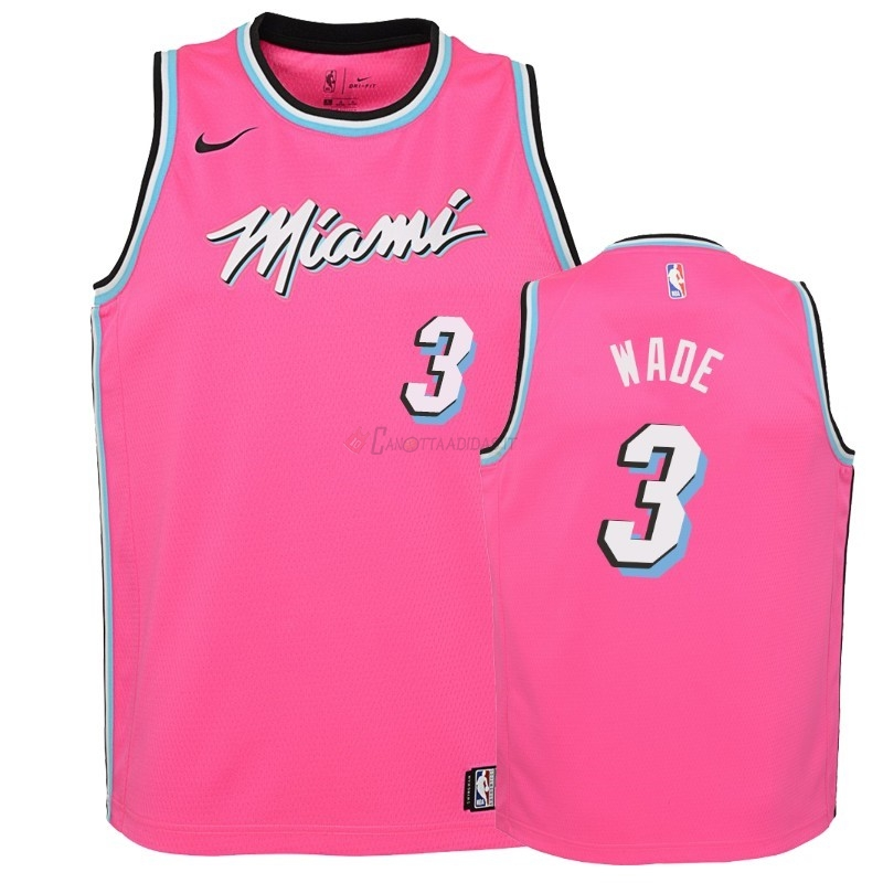 Hot- Maglia NBA Bambino Earned Edition Miami Heat NO.3 Dwyane Wade Rosa 2018-19