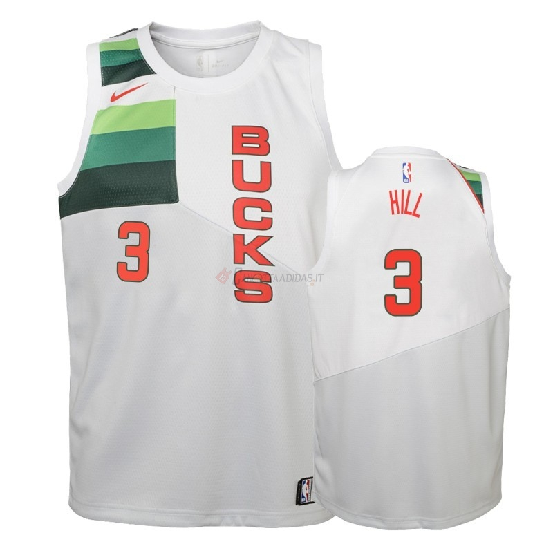 Hot- Maglia NBA Bambino Earned Edition Milwaukee Bucks NO.3 George Hill Bianco 2018-19
