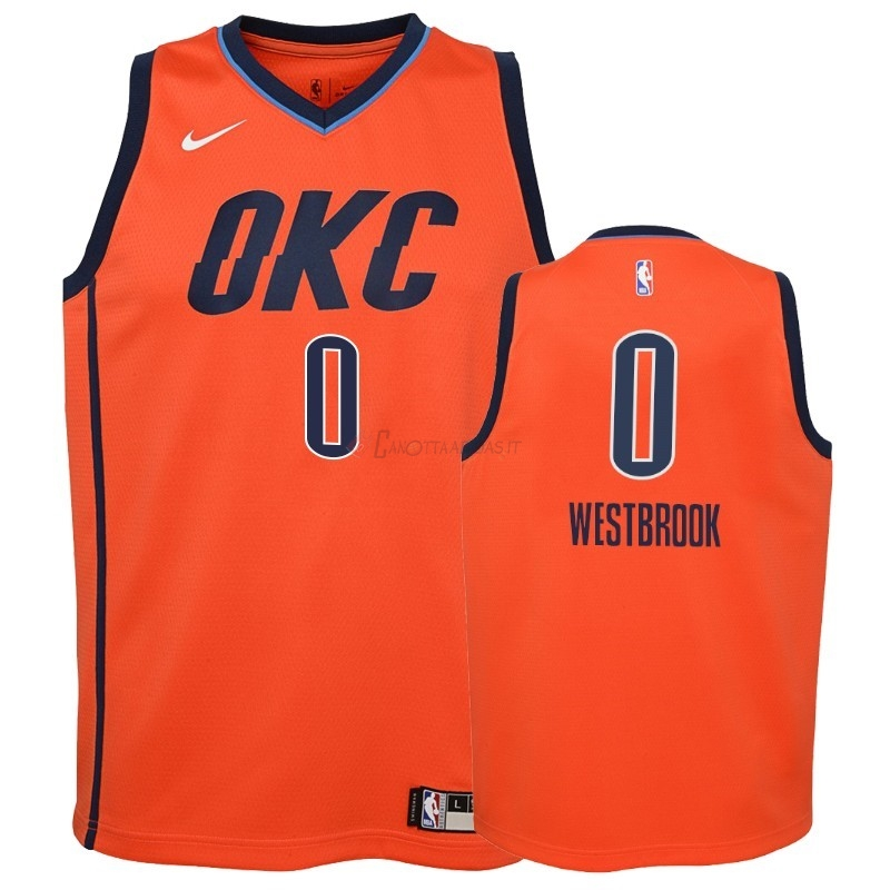 Hot- Maglia NBA Bambino Earned Edition Oklahoma City Thunder NO.0 Russell Westbrook Arancia 2018-19