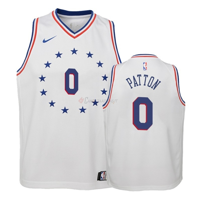 Hot- Maglia NBA Bambino Earned Edition Philadelphia Sixers NO.0 Justin Patton Bianco 2018-19