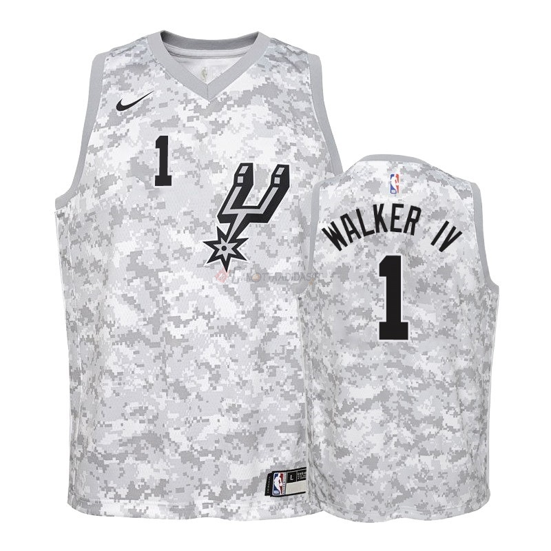 Hot- Maglia NBA Bambino Earned Edition San Antonio Spurs NO.1 Lonnie Walker Grigio 2018-19