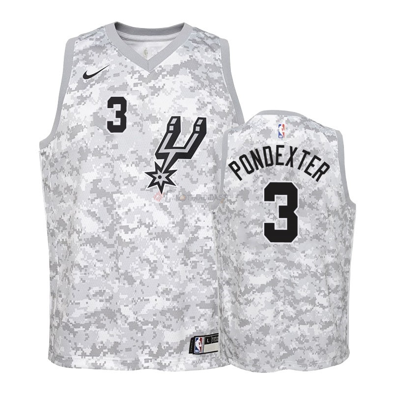 Hot- Maglia NBA Bambino Earned Edition San Antonio Spurs NO.3 Quincy Pondexter Grigio 2018-19