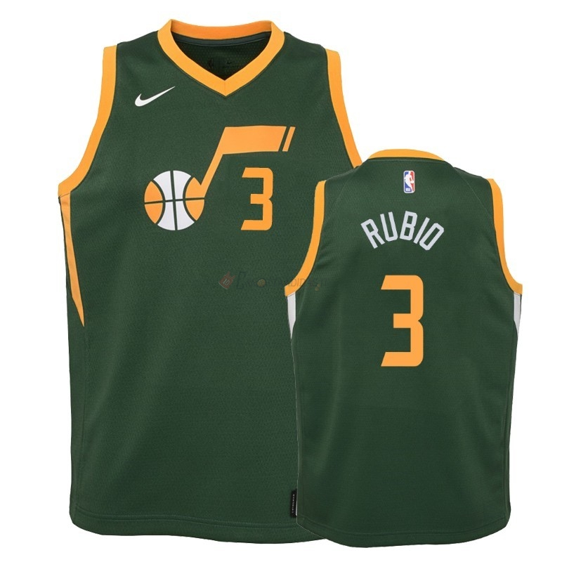 Hot- Maglia NBA Bambino Earned Edition Utah Jazz 2NO.3 Ricky Rubio Verde 2018-19