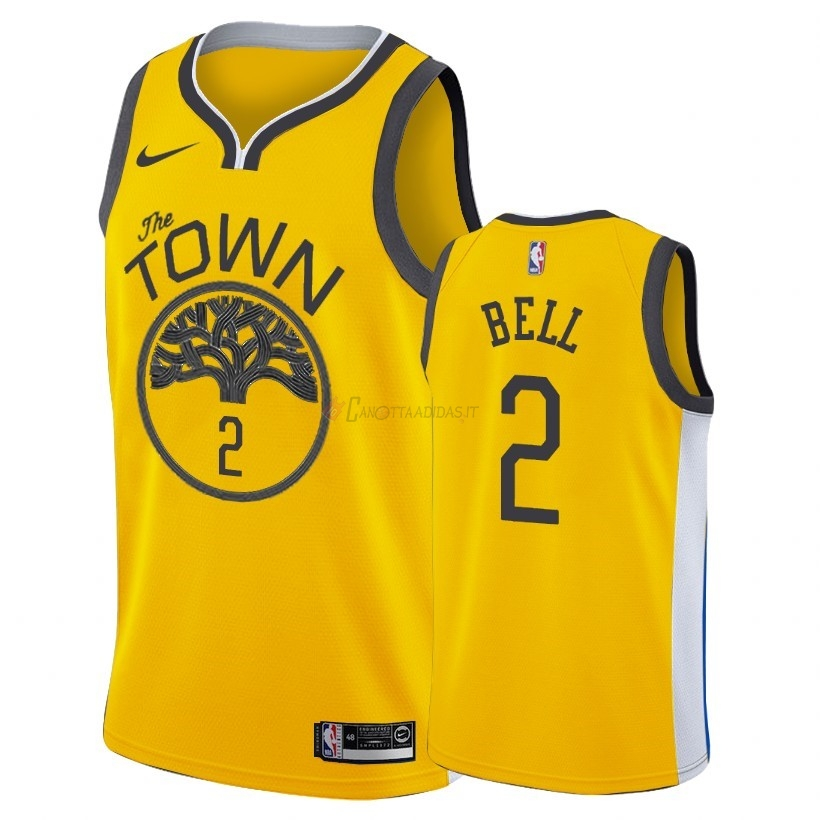 Hot- Maglia NBA Earned Edition Golden State Warriors NO.2 Jordan Bell Nike Oro 2018-19