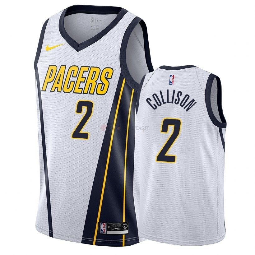Hot- Maglia NBA Earned Edition Indiana Pacers NO.2 Darren Collison Bianco 2018-19