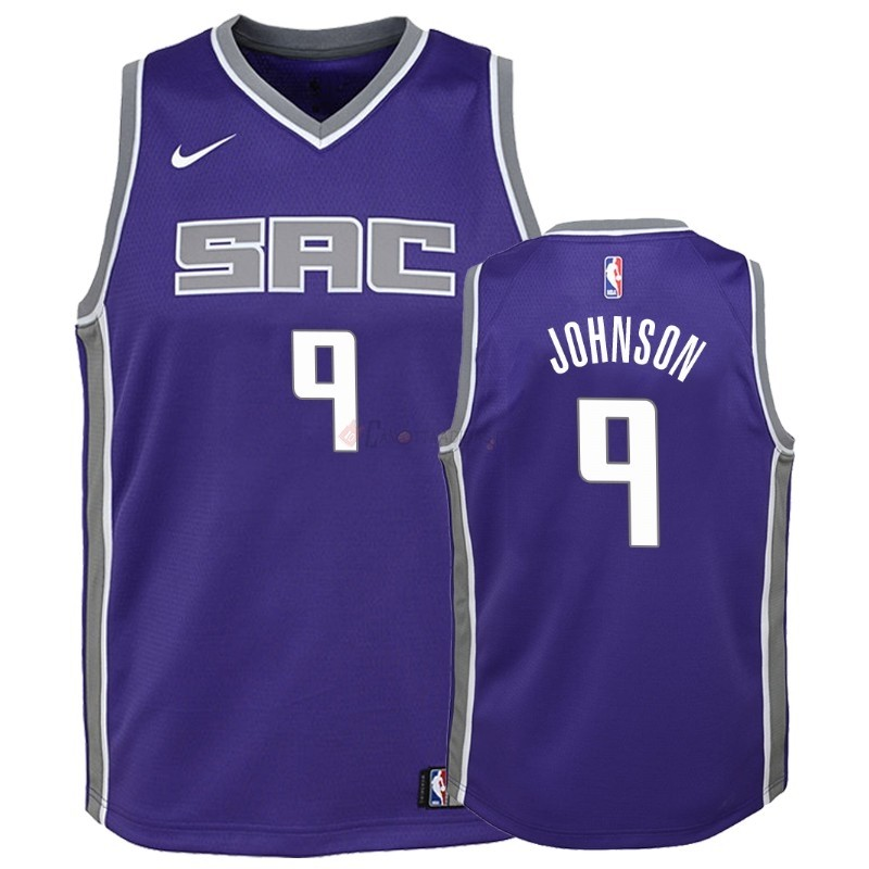 Hot- Maglia Maglia NBA Bambino Sacramento Kings NO.9 B.J. Johnson Porpora Icon