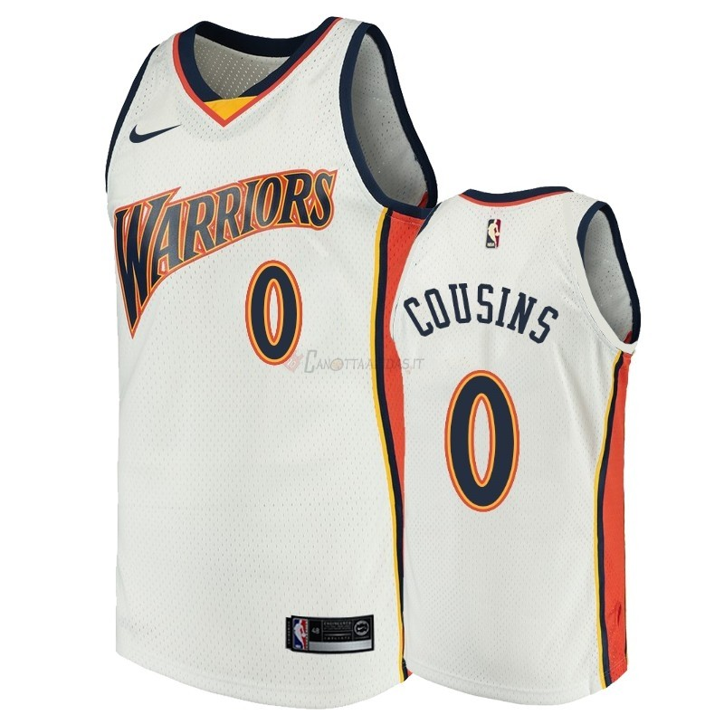 Hot- Maglia NBA Golden State Warriors NO.0 DeMarcus Cousins Bianco Throwback
