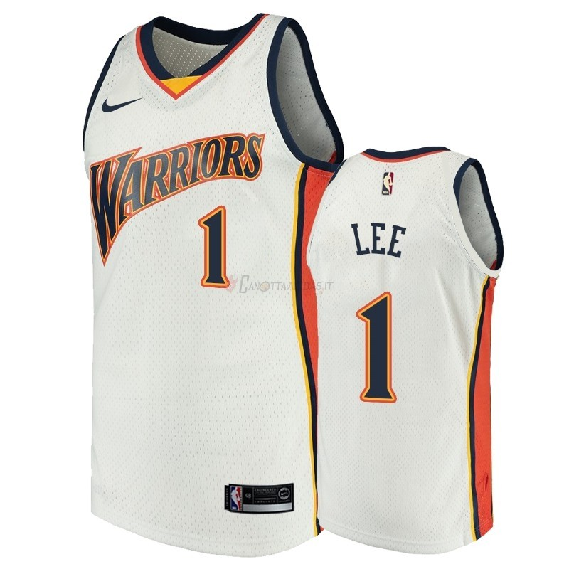 Hot- Maglia NBA Golden State Warriors NO.1 Damion Lee Bianco Throwback