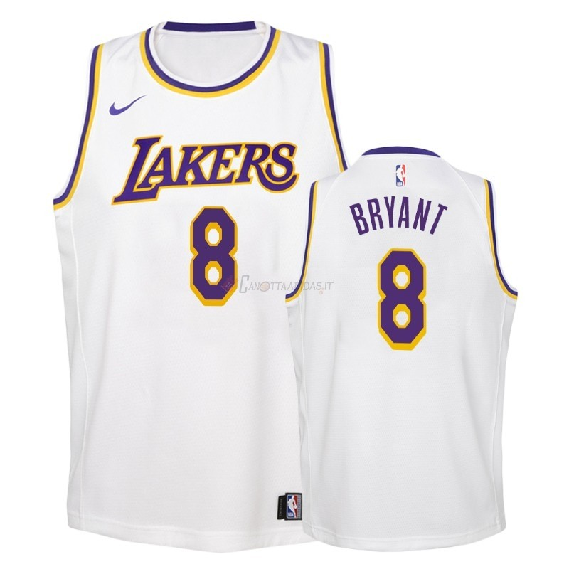 Hot- Maglia Maglia NBA Bambino Los Angeles Lakers NO.8 Kobe Bryant Bianco Association 2018-19