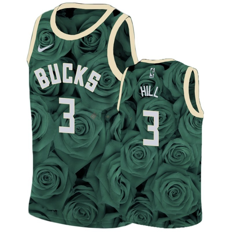 Hot- Maglia NBA Nike Milwaukee Bucks NO.3 George Hill Verde
