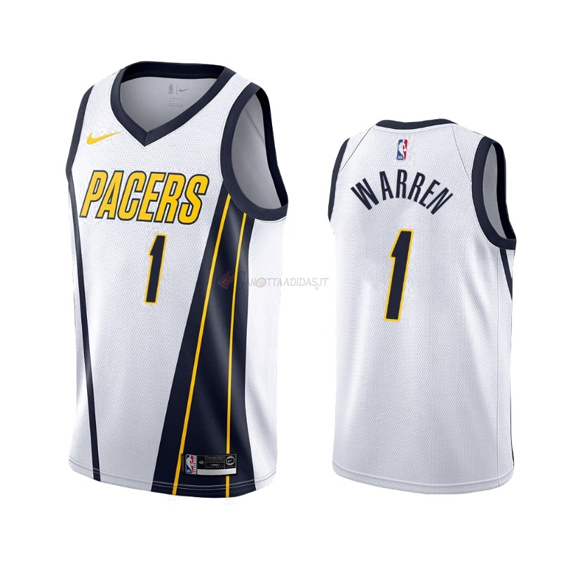 Hot- Maglia NBA Earned Edition Indiana Pacers NO.26 T.J. Warren Gray Bianco 2019-20