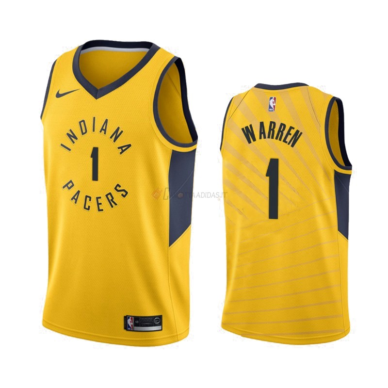 Hot- Maglia NBA Nike Indiana Pacers NO.1 T.J. Warren Gray Giallo Statement 2019-20