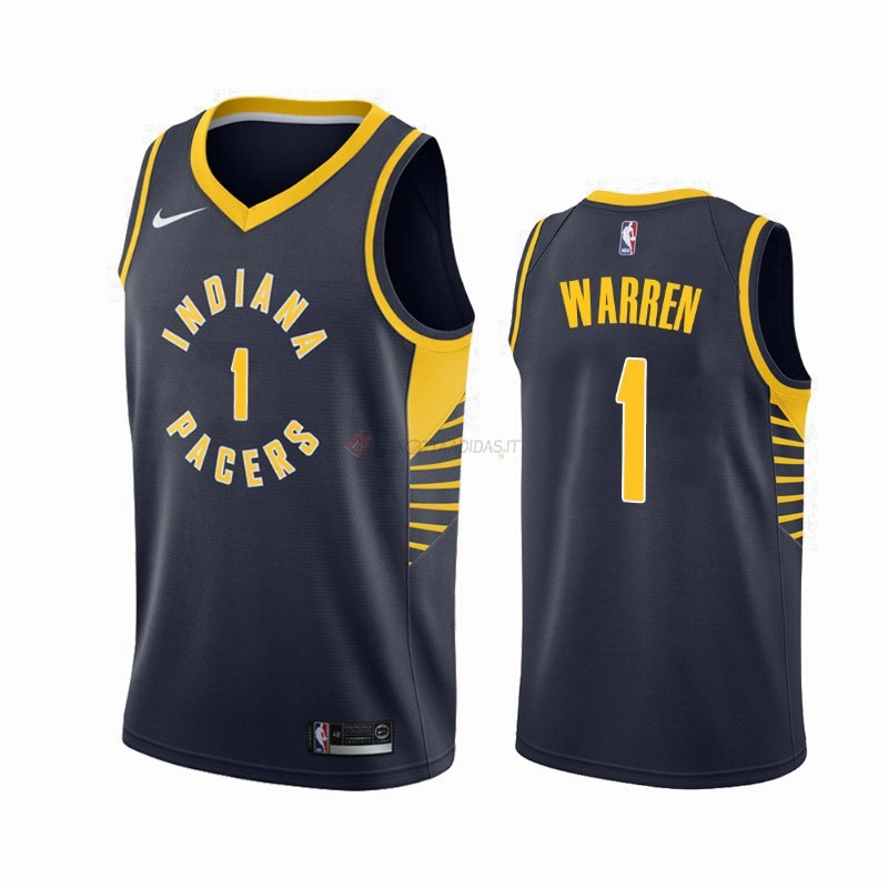 Hot- Maglia NBA Nike Indiana Pacers NO.1 T.J. Warren Gray Marino Icon 2019-20