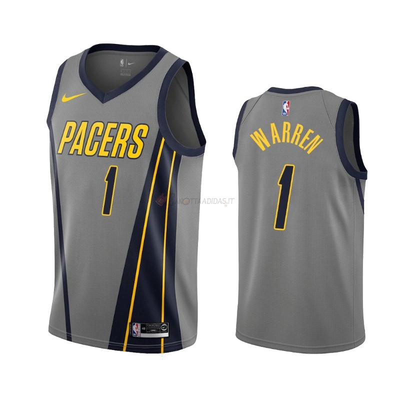 Hot- Maglia NBA Nike Indiana Pacers NO.1 T.J. Warren Gray Nike Gris Città 2019-20