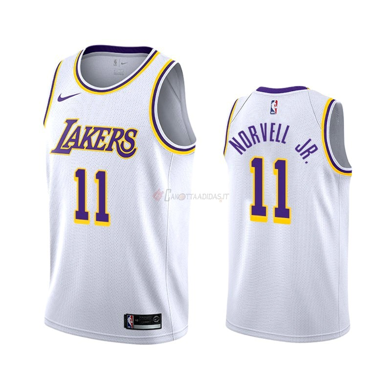 Hot- Maglia NBA Nike Los Angeles Lakers NO.11 Zach Norvell Jr Bianco Association 2019-20