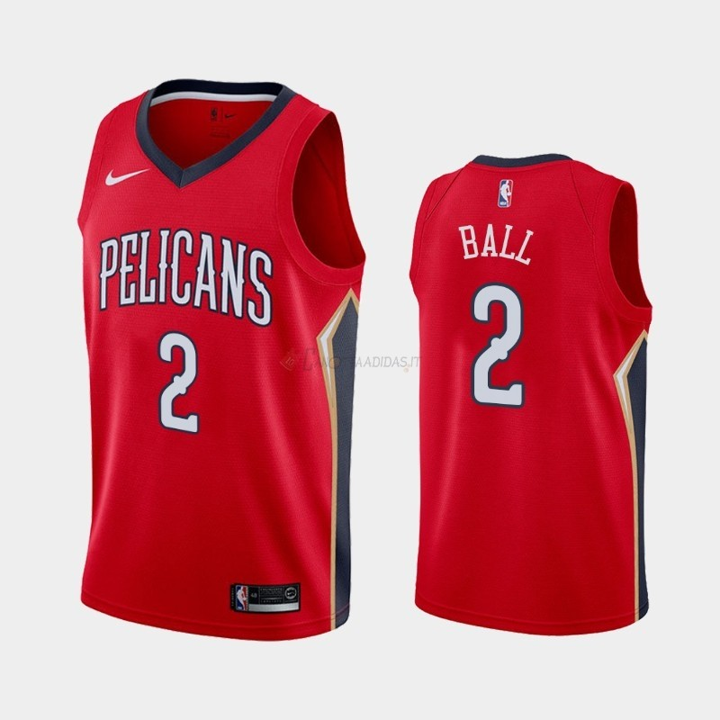 Hot- Maglia NBA Nike New Orleans Pelicans NO.2 Lonzo Ball Rosso Statement 2019-20