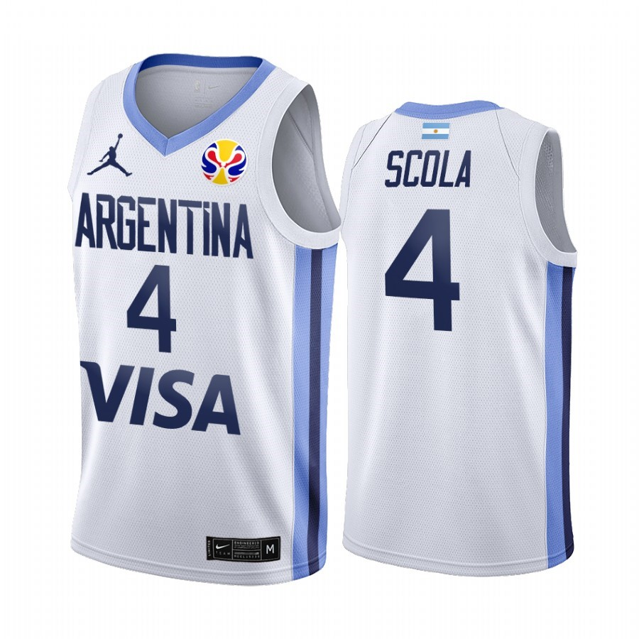 Hot- Coppa Mondo Basket FIBA 2019 Argentina NO.4 Luis Scola Bianco