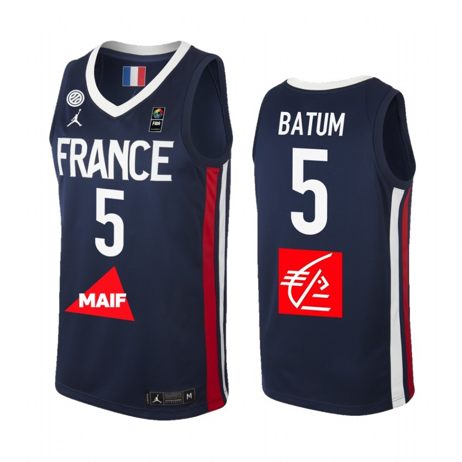 Hot- Coppa Mondo Basket FIBA 2019 France NO.5 Nicolas Batum Marino