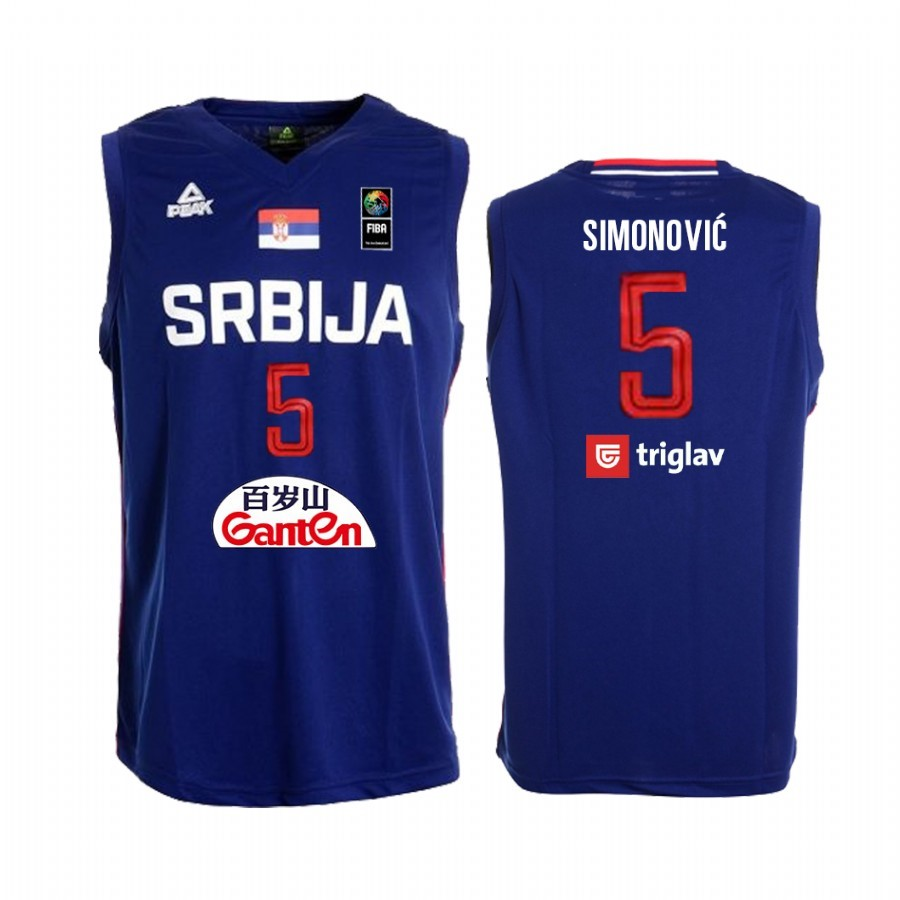 Hot- Coppa Mondo Basket FIBA 2019 Serbia NO.5 Marko Simonovic Blu
