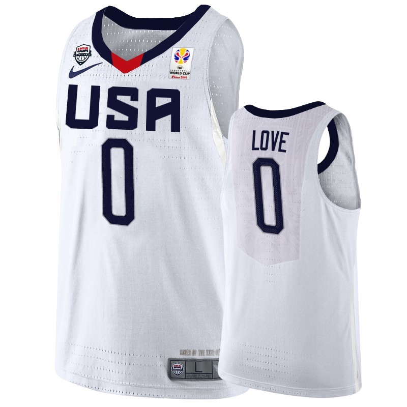 Hot- Coppa Mondo Basket FIBA 2019 USA NO.0 Kevin Love Bianco