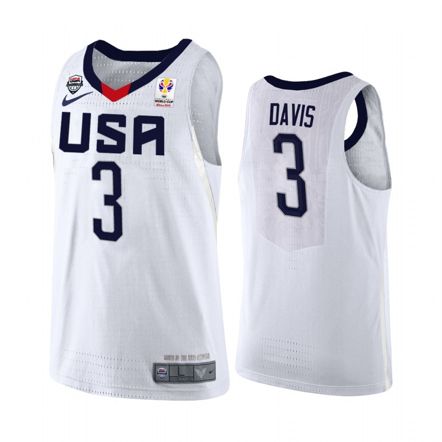 Hot- Coppa Mondo Basket FIBA 2019 USA NO.3 Anthony Davis Bianco