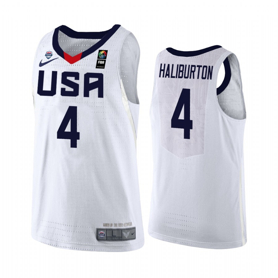 Hot- Coppa Mondo Basket FIBA 2019 USA NO.4 Tyrese Haliburton Bianco