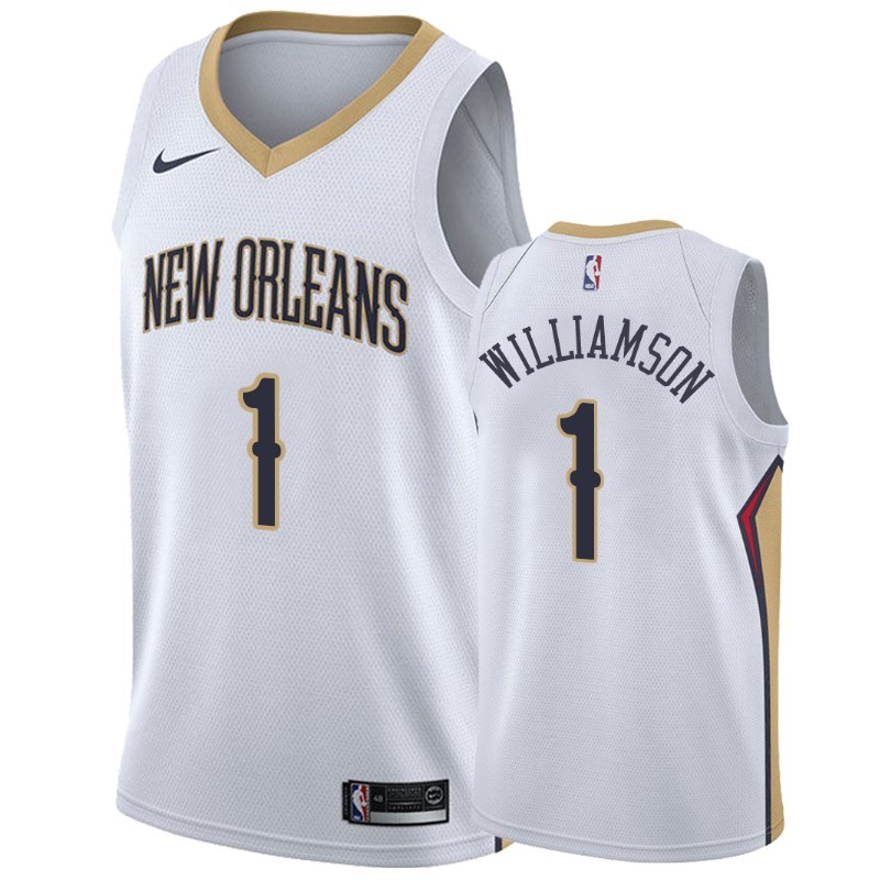 Hot- Maglia NBA Nike New Orleans Pelicans NO.1 Zion Williamson Bianco Association