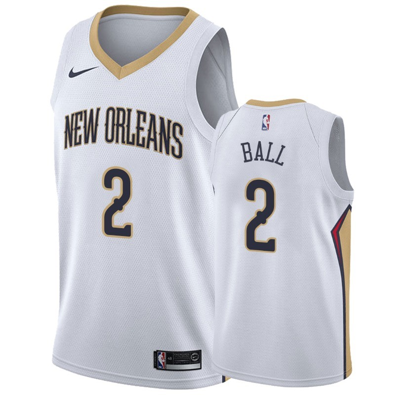 Hot- Maglia NBA Nike New Orleans Pelicans NO.2 Lonzo Ball Bianco Association 2019-20