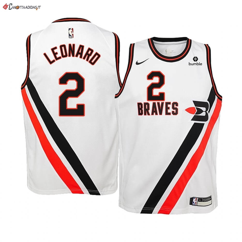 Hot- Maglia NBA Bambino Earned Edition Los Angeles Clippers NO.2 Kawhi Leonard Bianco