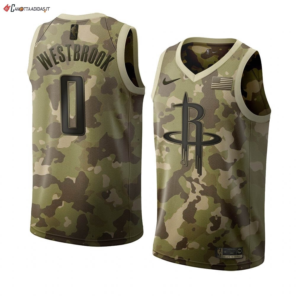 Hot- Maglia NBA Nike Houston Rockets NO.0 Russell Westbrook Camouflage 2019