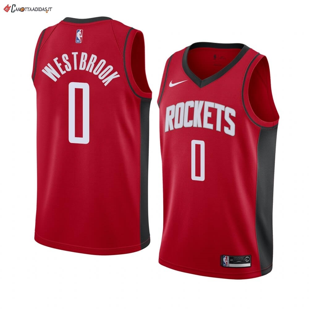 Hot- Maglia NBA Nike Houston Rockets NO.0 Russell Westbrook Rosso Icon 2019-20