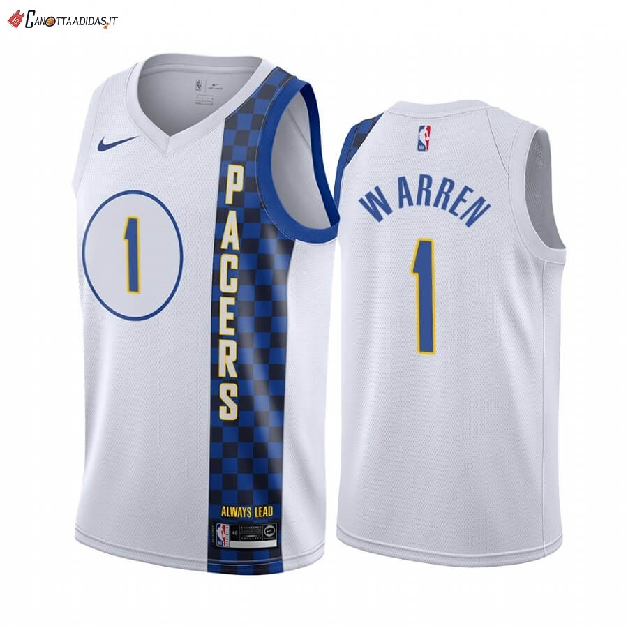 Hot- Maglia NBA Nike Indiana Pacers NO.1 T.J. Warren Nike Blacno Città 2019-20