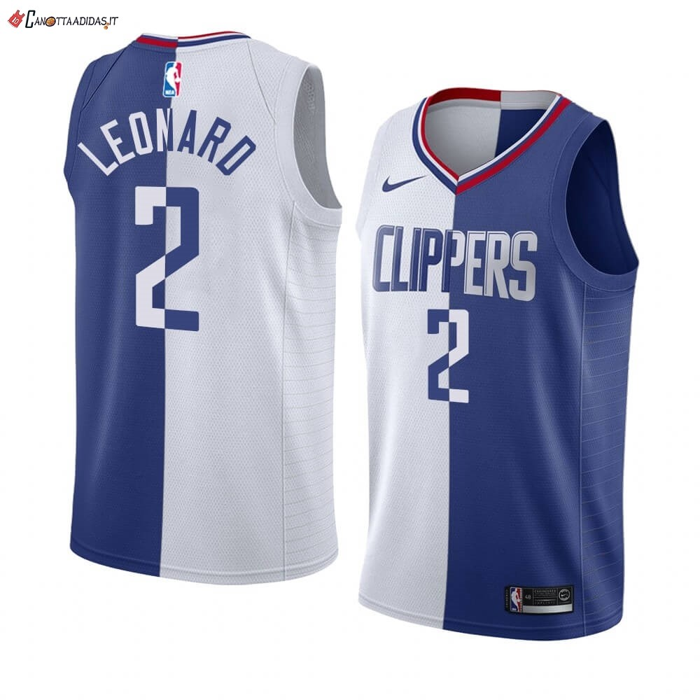 Hot- Maglia NBA Nike Los Angeles Clippers NO.2 Kawhi Leonard Blu Bianco Split Edition