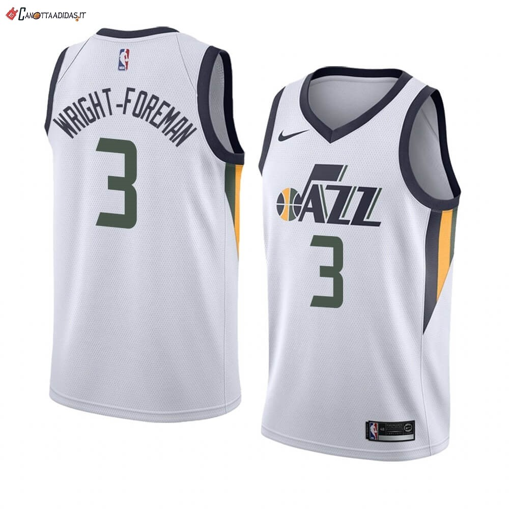 Hot- Maglia NBA Nike Utah Jazz NO.3 Justin Wright-Foreman Bianco Association 2019-20